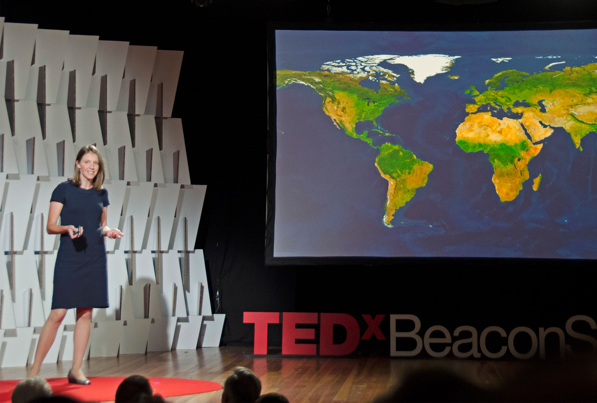 Mary Ann Bates presents on stage with a map of the world behind her