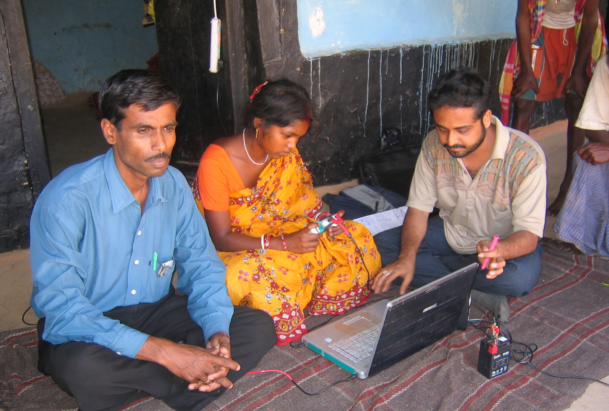 Woman on computer in Rajasthan, India