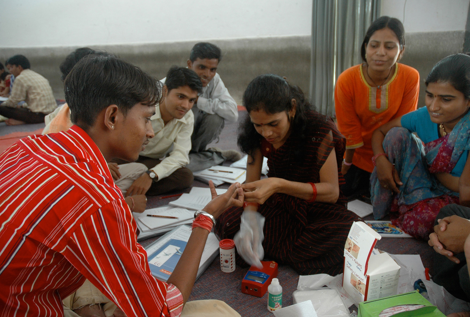 Health workers undergoing training