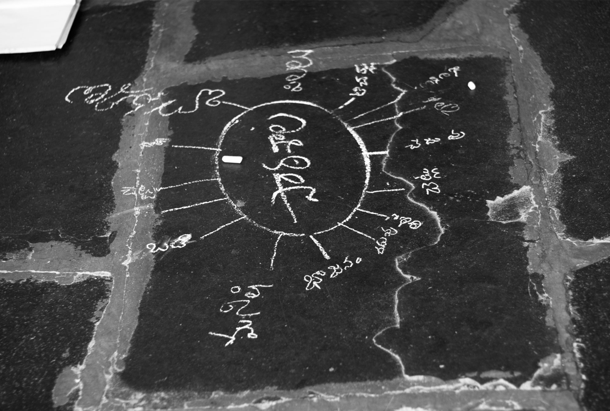 Hindi writing in white chalk on floor