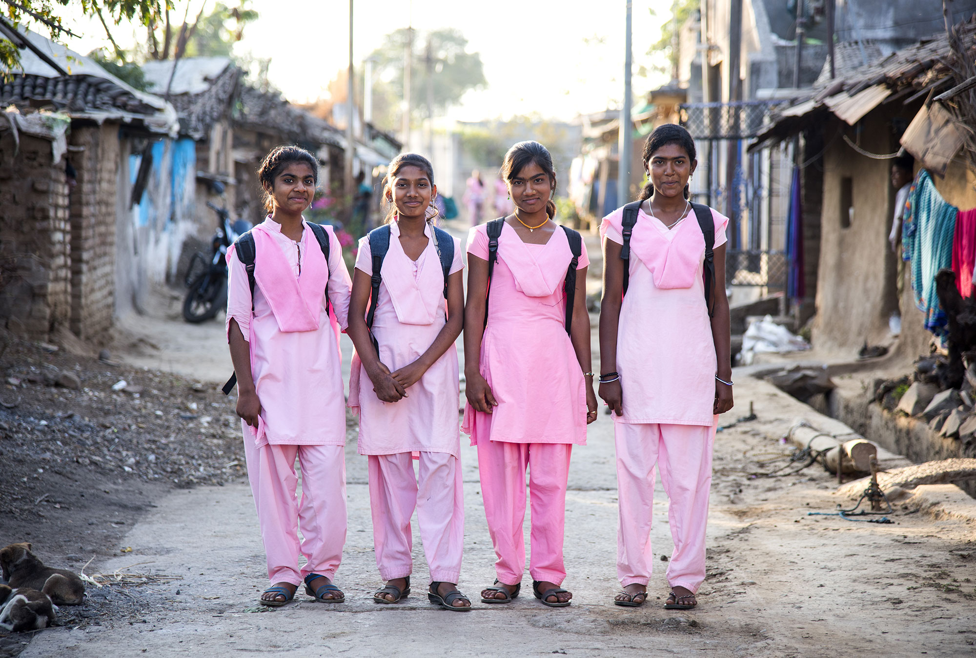 Girls in school uniforms in India