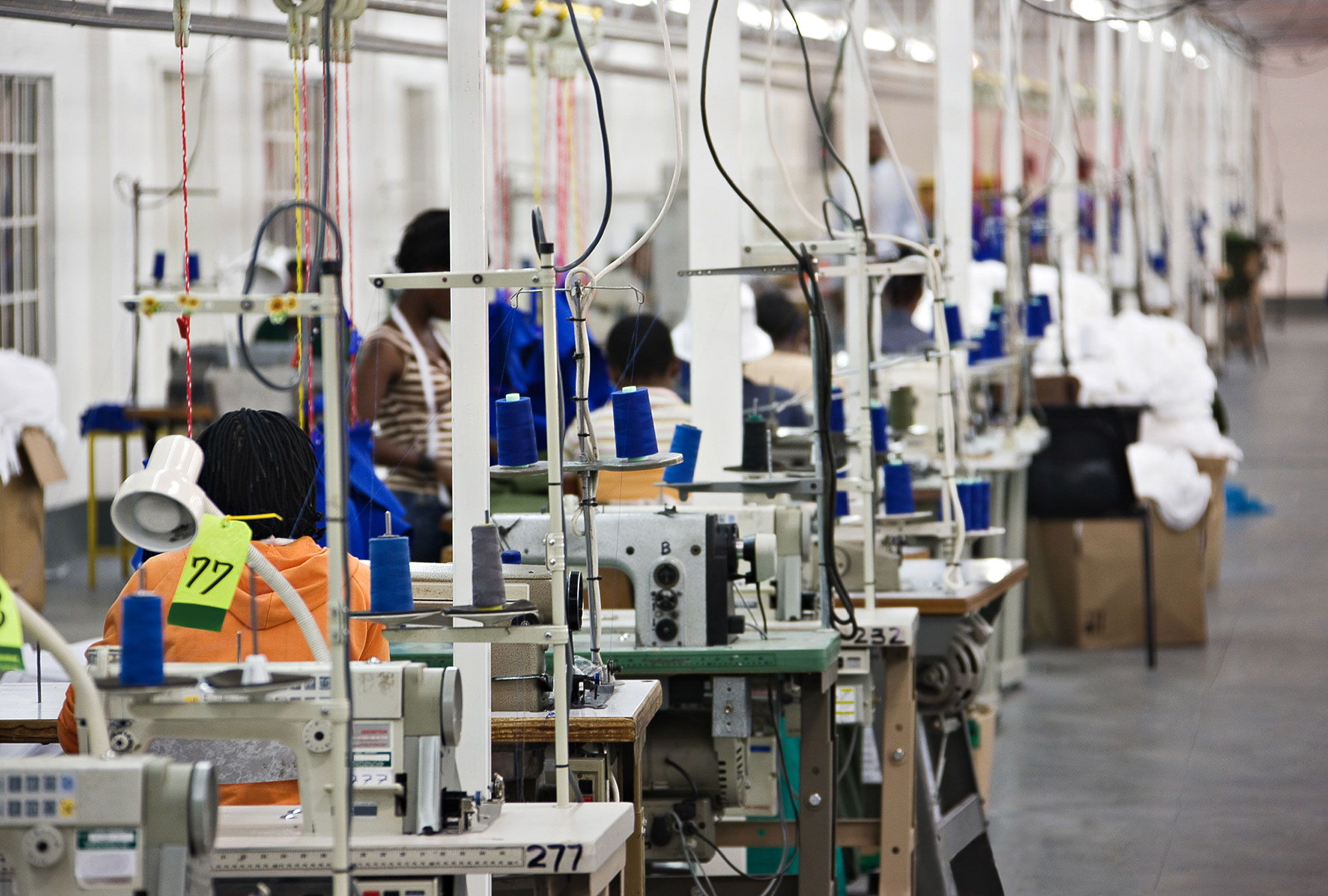Rows of people working at industrial sewing machines