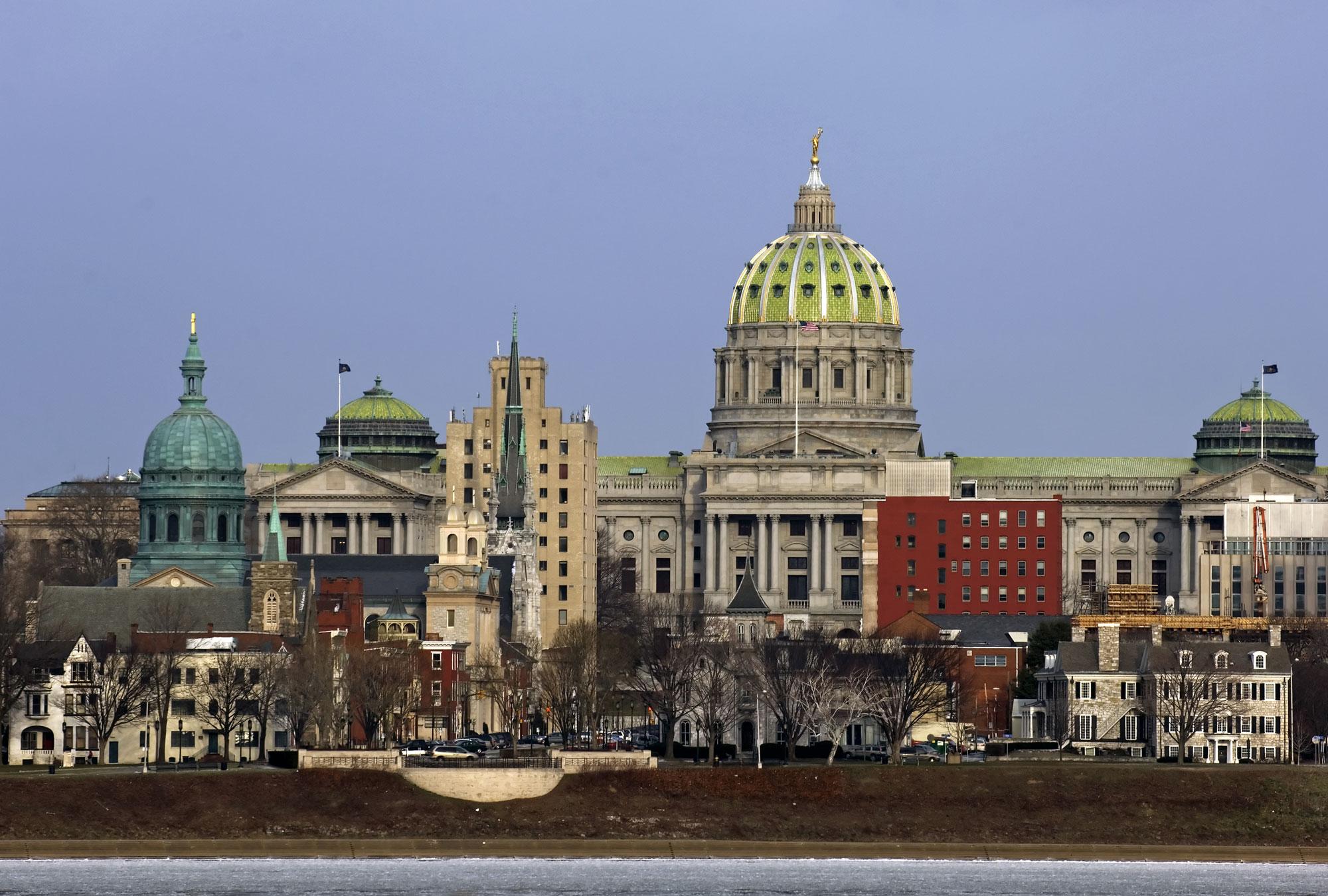 Pennsylvania state capitol building in Harrisburg, PA