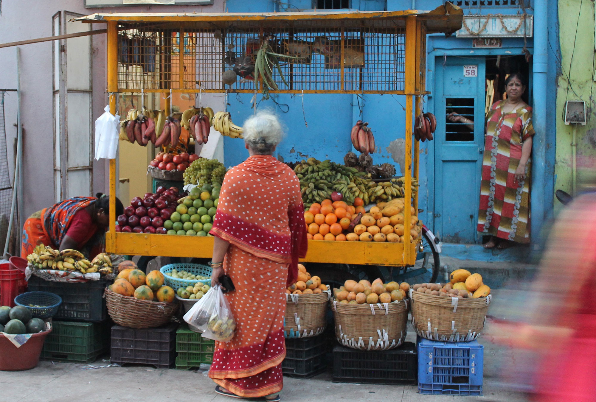Woman in sari in front of a roadside fruit stand