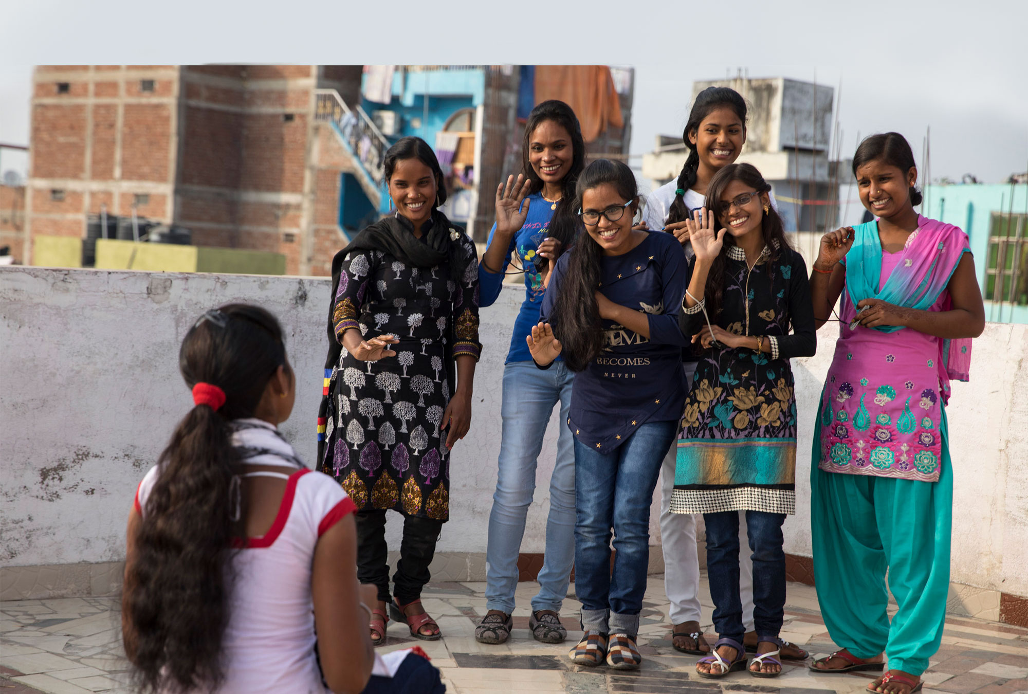 Young women take a group photo