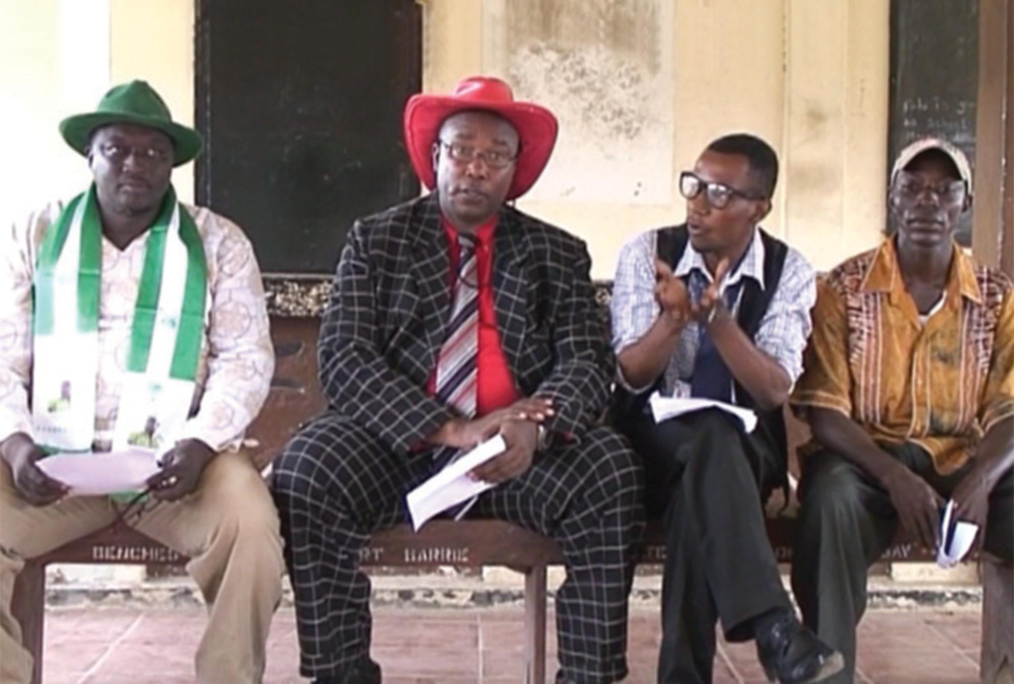 Candidates participating in a filmed debate for the 2012 parliamentary elections in Sierra Leone.