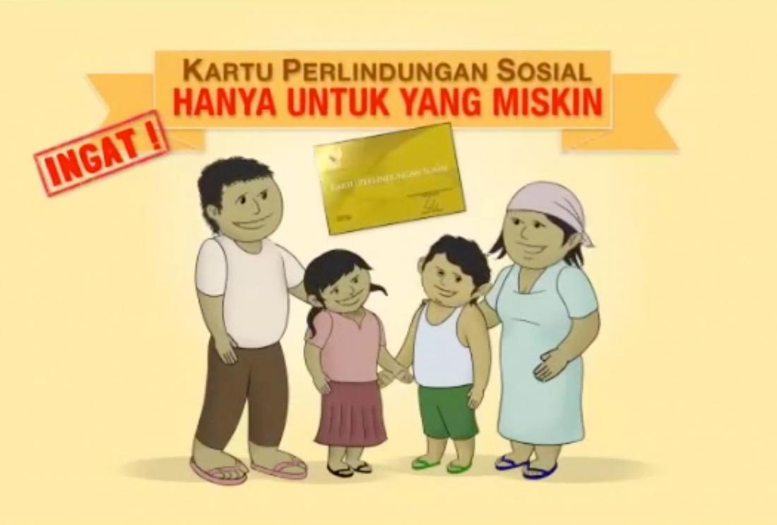 Still from animated commercial on family with social protection identification card