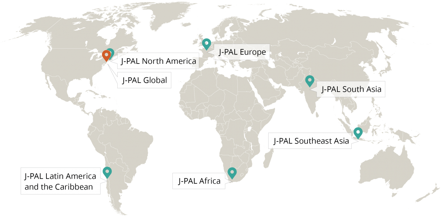 map of j-pal offices around the world