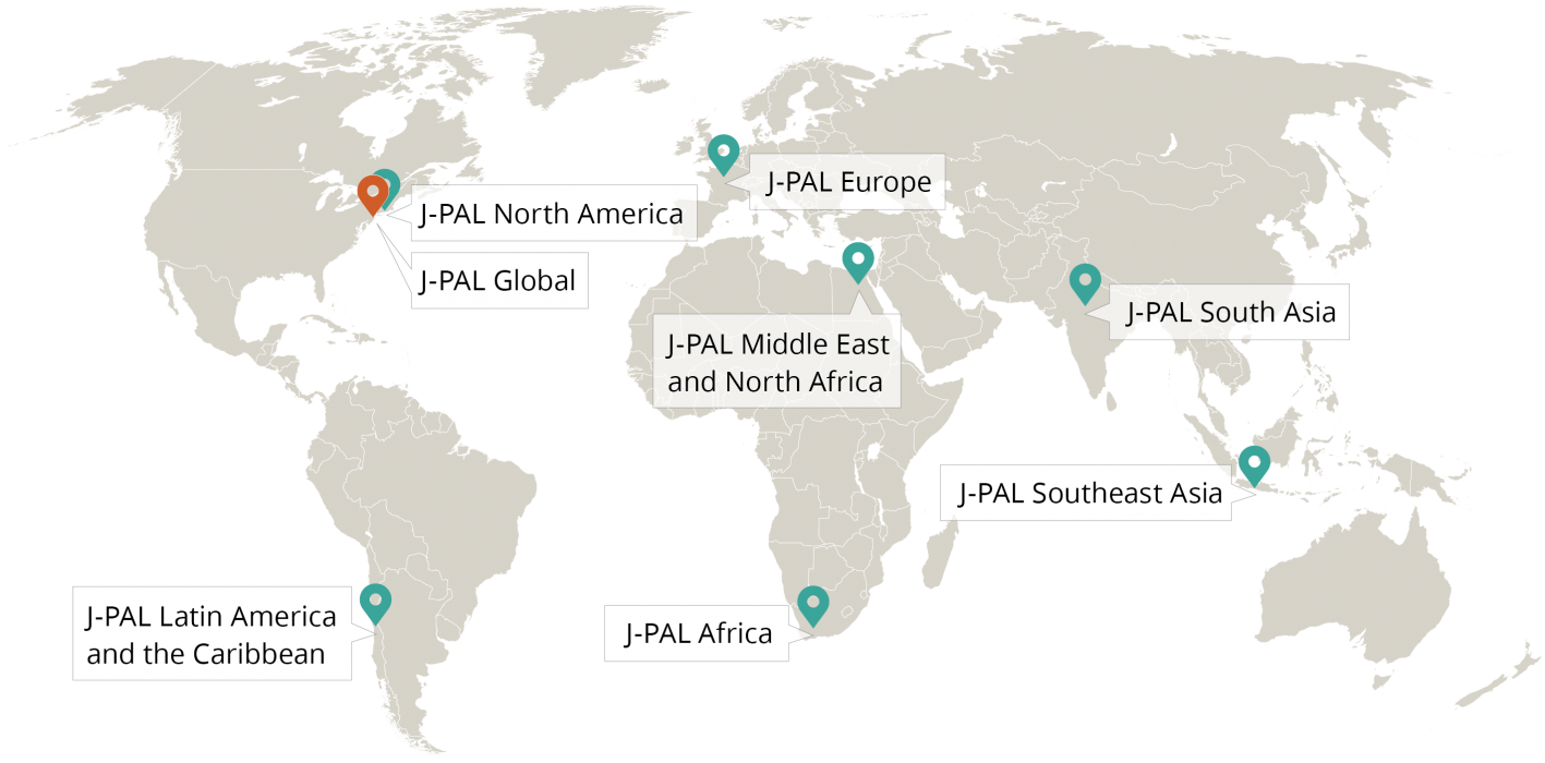 A map of the world with pins marking J-PAL's seven regional offices in the US, Chile, France, Egypt, South Africa, India, and Indonesia