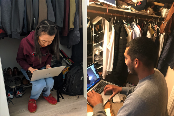 In two side-by-side images, two people work on their laptops while sitting in their closets.