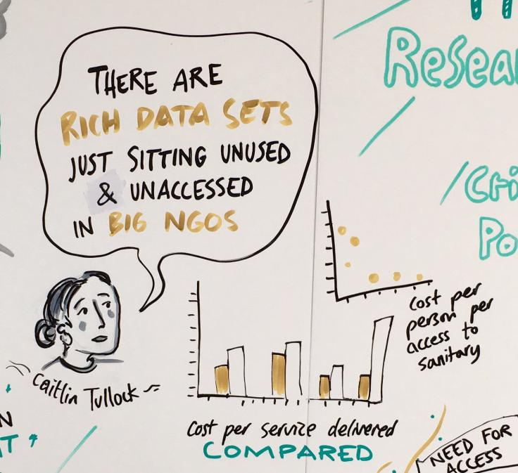 "A cartoon drawing of Caitlin saying ""There are rich data sets just sitting unused and unaccessed in big NGOs"""