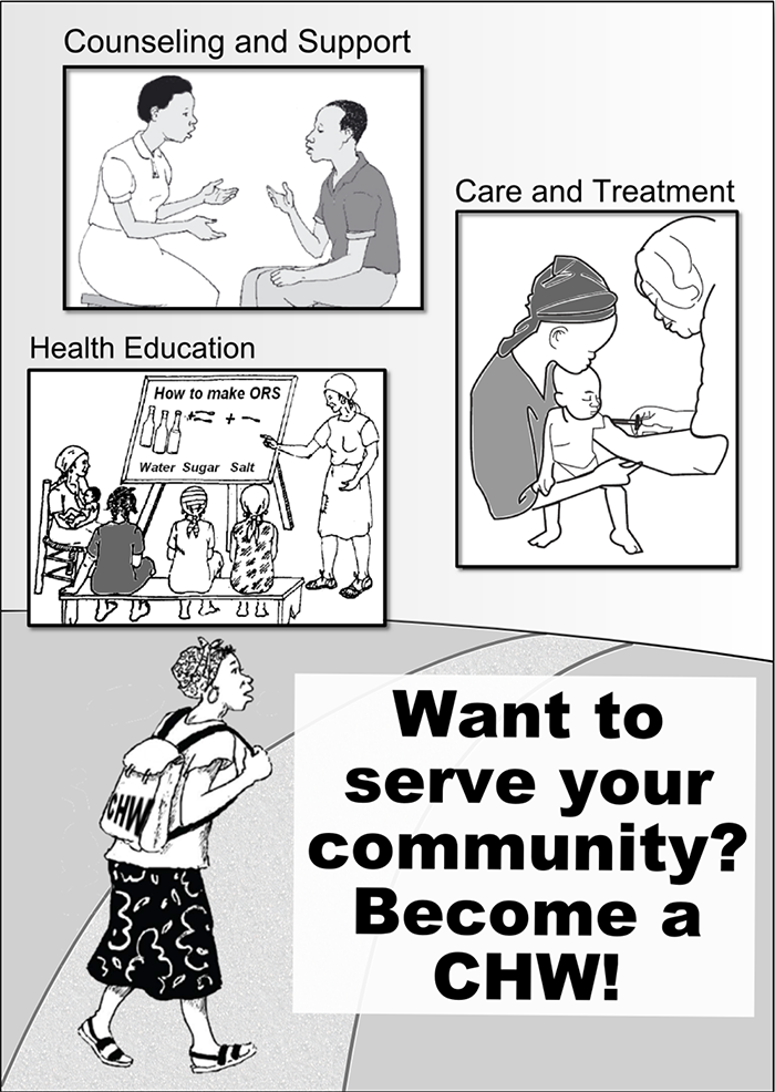 "Poster advertising community health worker position, reading ""Want to serve your community?"""
