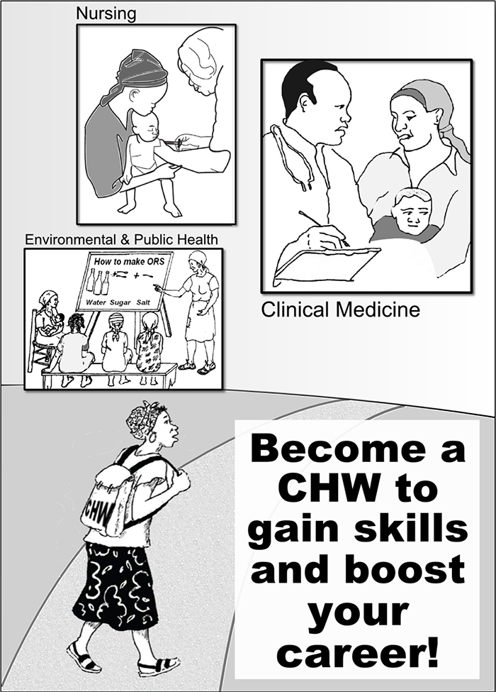 "Poster advertising community health worker position, reading ""Become a CHW to gain skills and boost your career!"""