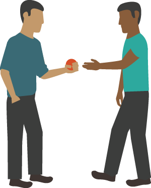 Illustration of person handing a ball to another person