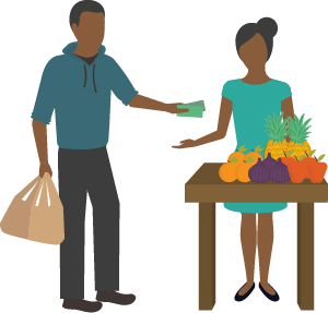 Illustration of person paying fruit vendor