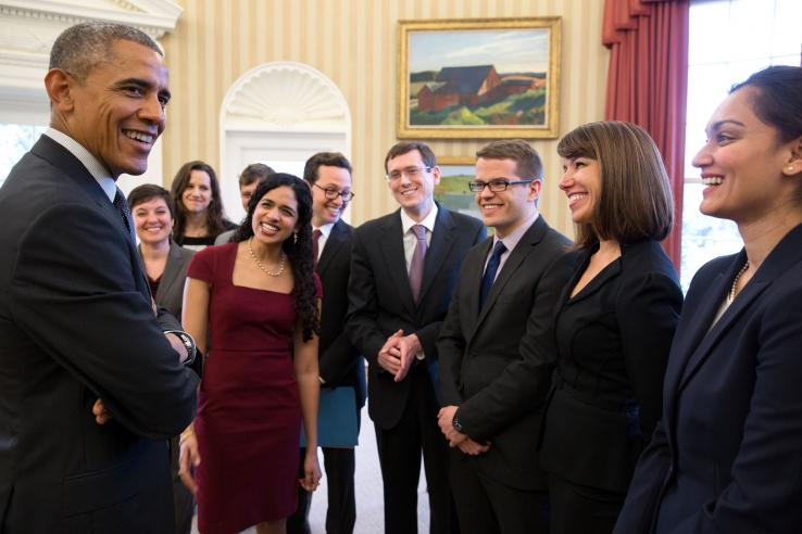 President Barack Obama meets with staff of the Social Behavioral Sciences team