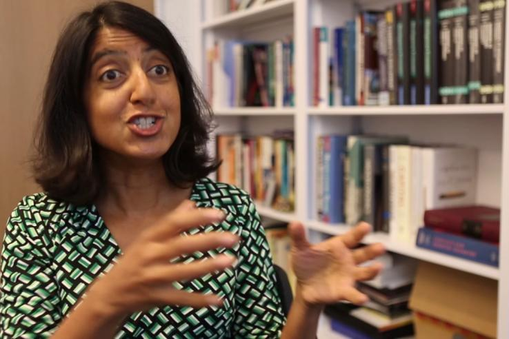 Seema Jayachandran discussing her research