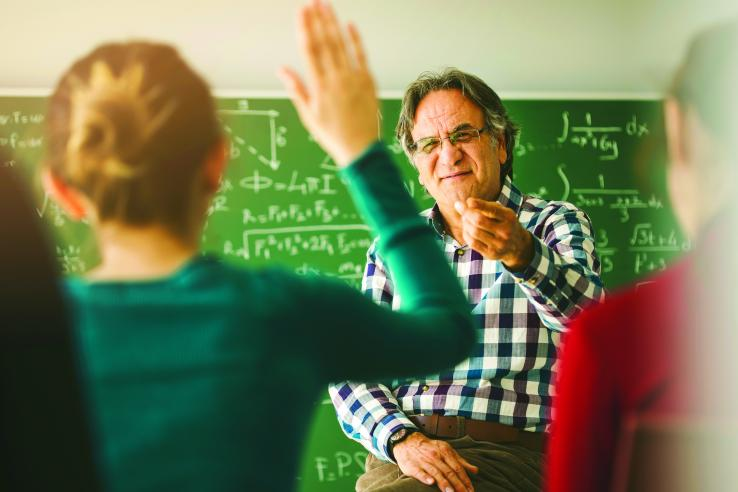 Student being called on by a teacher