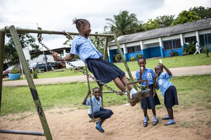 Liberian students on a playground