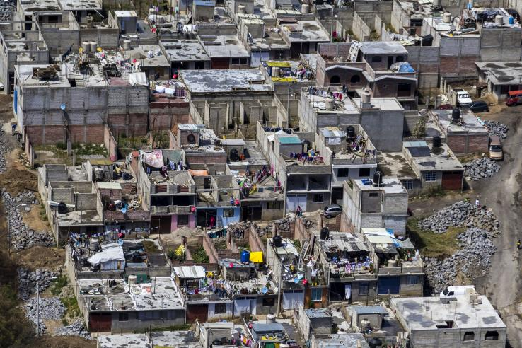 Aerial view of slum housing in Mexico