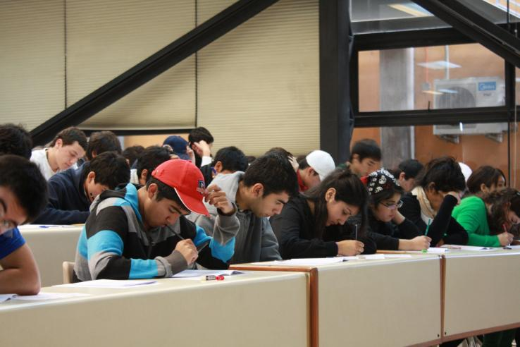 Students take a college entry test in Santiago, Chile.