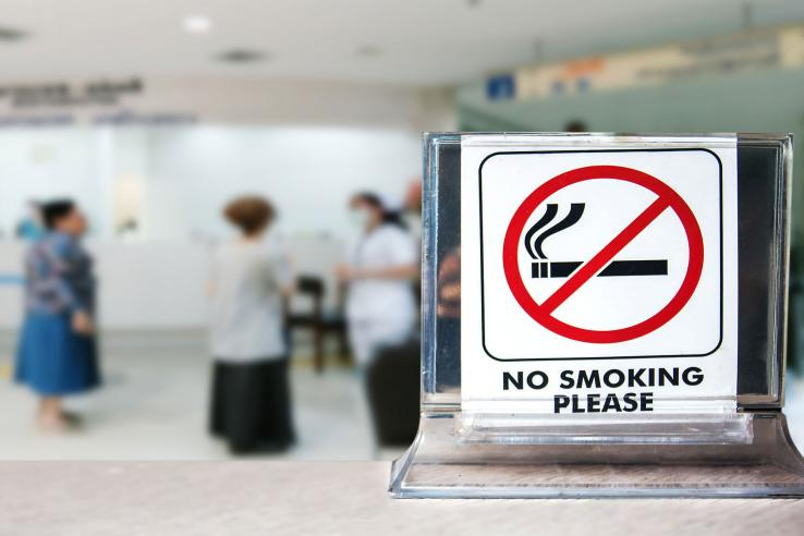 No smoking sign in a clinic