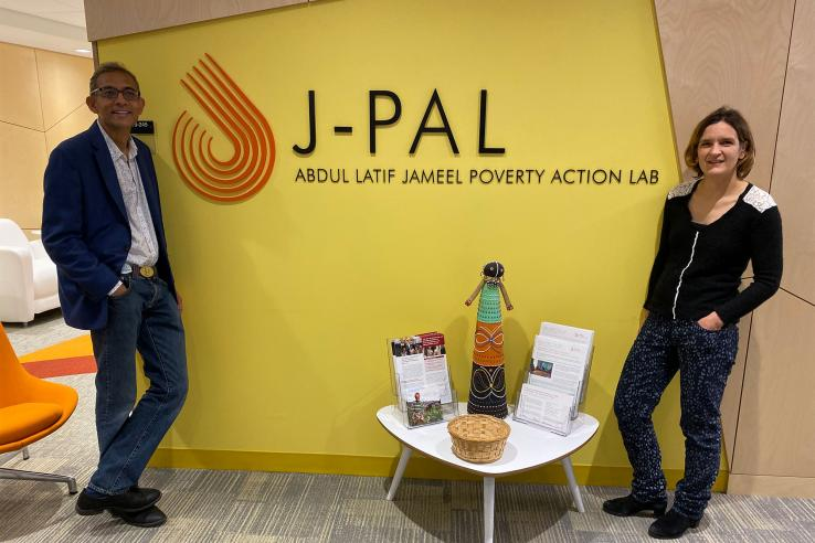 Abhijit Banerjee and Esther Duflo at the J-PAL Global office