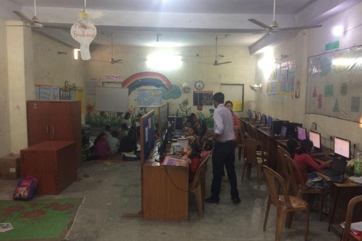 Students working at a Mindspark center in Delhi.