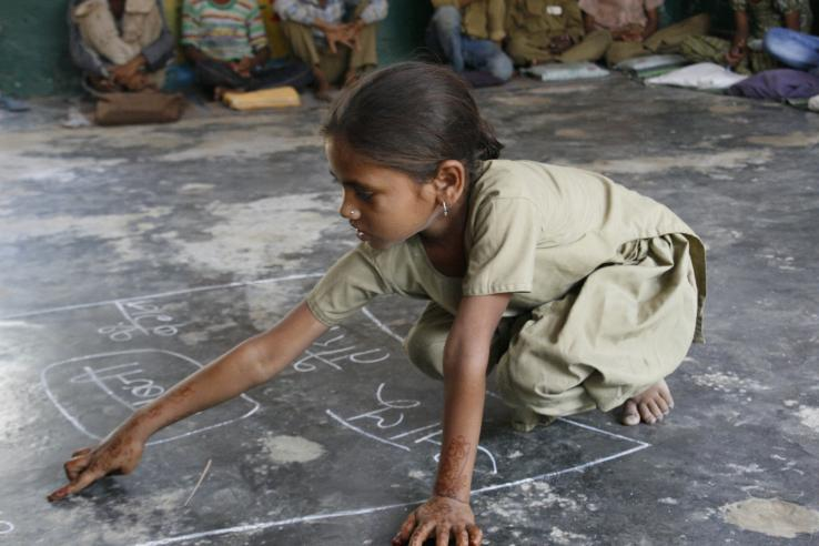 A girl in school in India