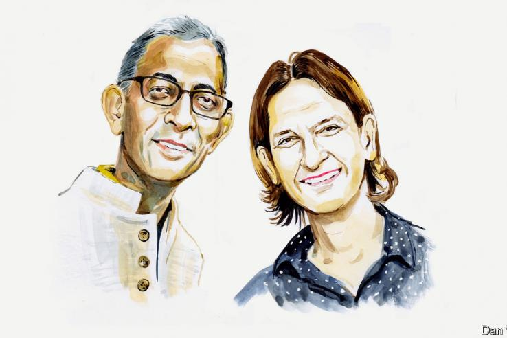 drawing of Abhijit Banerjee and Esther Duflo