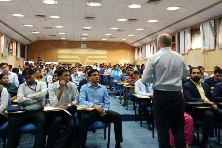 John Floretta, J-PAL Global Director of Policy and Communications, delivering a lecture at the Lal Bahadur Shastri National Academy of Administration, India.