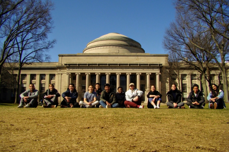 Students in the first cohort of MIT's new Master's in Data, Economics, and Development Policy pose in front of the Great Dome in January.