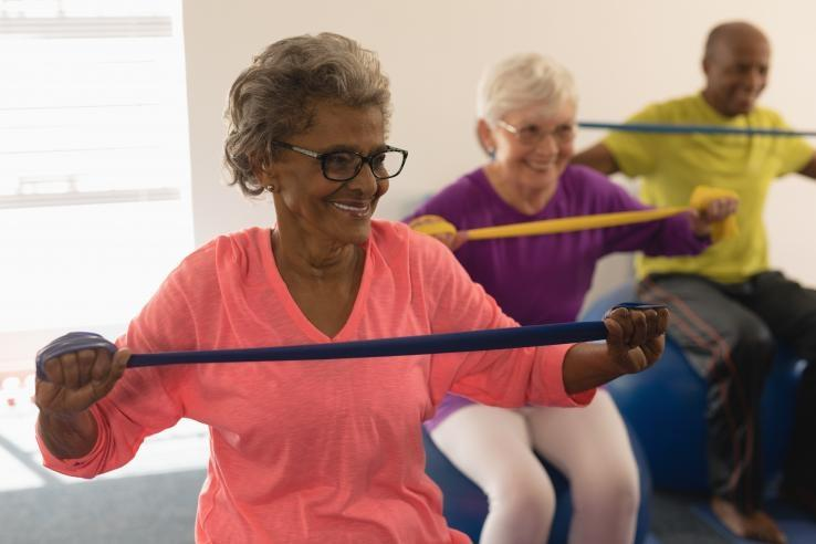 older women in a work out class