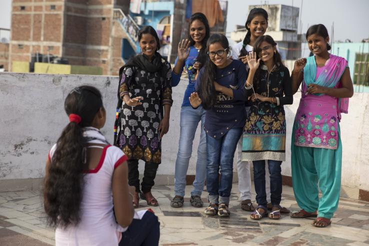 Adolescent females in India participate in an empowerment group