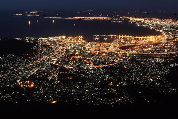 An aerial view of Cape Town, South Africa at night