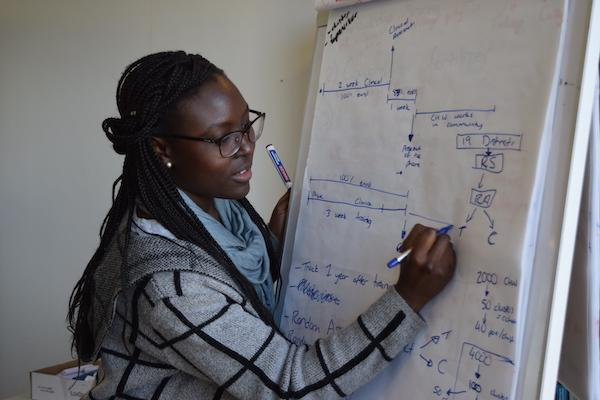 A woman writes on a flipchart during J-PAL Africa's 2019 Evaluating Social Programmes Course.