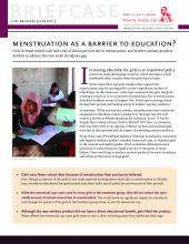 Menstruation as a barrier to education