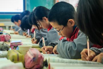 students in China taking an exam